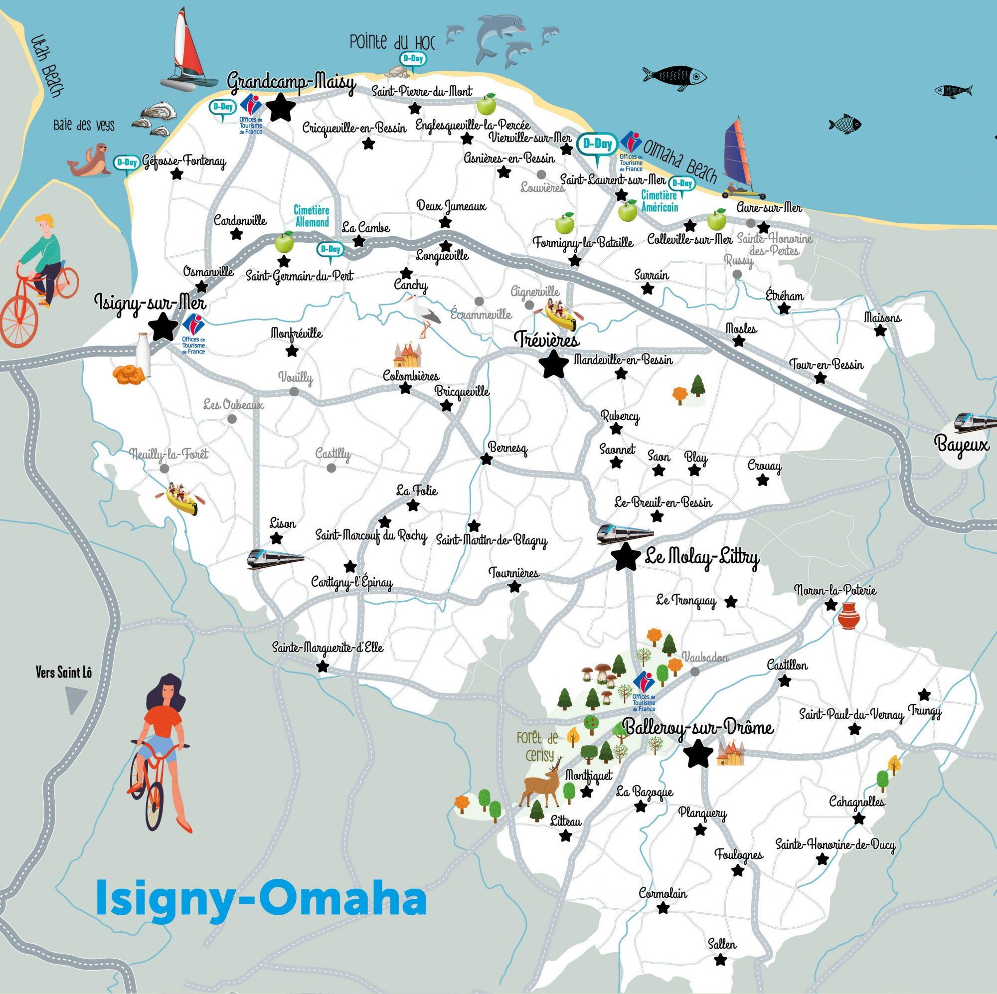 carte de la destination touristique d'Isigny-Omaha