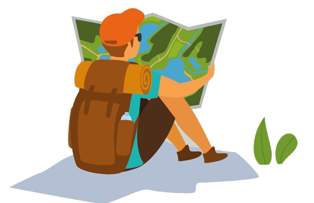 Randonnée et sport nature illustration randonneur plan